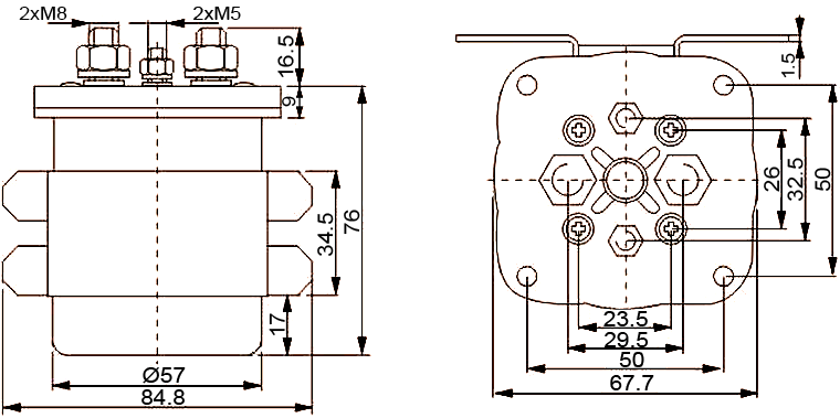 NR200 NR500 SPST DC Contactor Dimensions