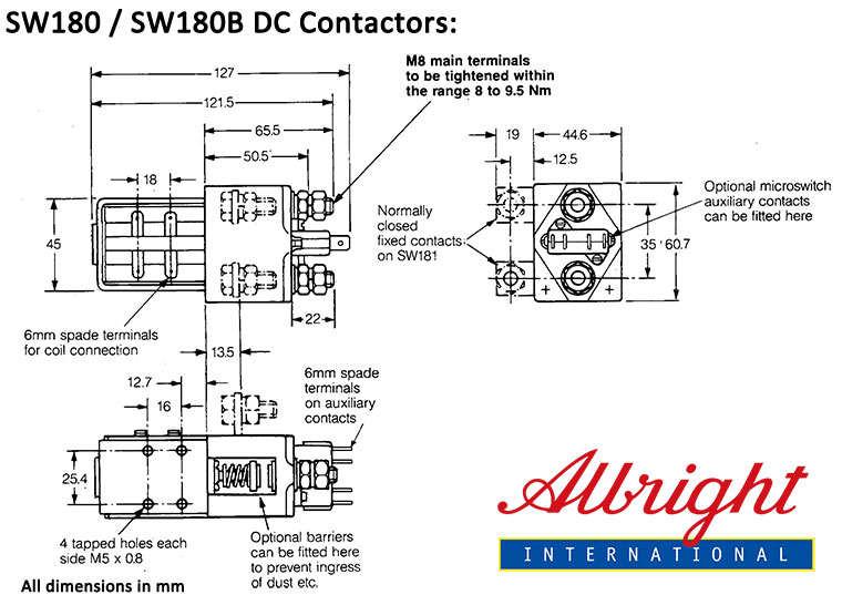 albright 200a dc contactor model sw180 and sw180b spst. Black Bedroom Furniture Sets. Home Design Ideas