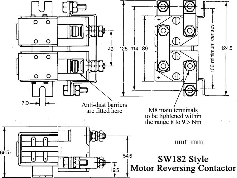 sw182 contactor dimension diagram